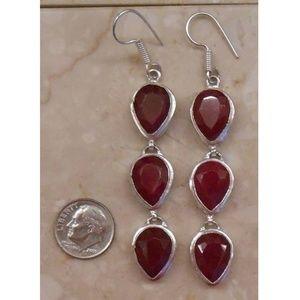 Jewelry - REAL RUBY sterling silver earrings SJ944-15